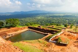 Pool in the royal garden palace complex on the top of Sigiriya Rock or Lion Rock near Dambulla in Sri Lanka