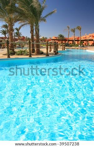 Pool in the tropical hotel. Sharm al-Sheikh, Egypt(polarized filter)