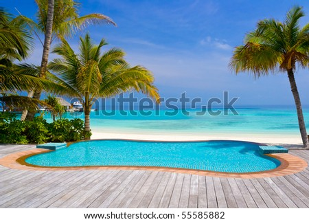 Pool on a tropical beach - vacation background #55585882