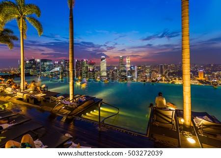 Poolside bar images - Singapur skyline pool ...