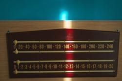 Pool or billiard score keeping scoreboard
