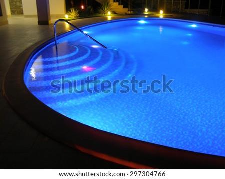 Pool 1. Oval pool with night illumination.