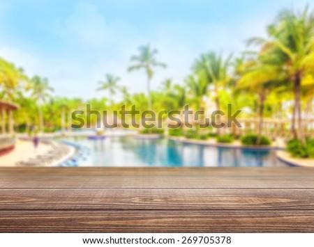 Pool. Platform beside swimming pool in maldives beach resorts