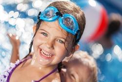 Pool, swim, kid.