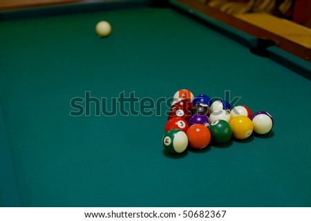 Pool table before the first stroke