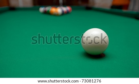 Pool table before the starting shot