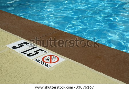 Pool water with depth marking