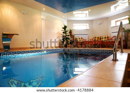 Pool with pure water in modern hotel