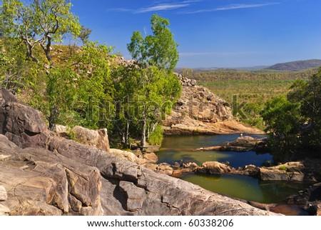 pools at the Top of the Gunlom waterfall in Kakadu National Park, Northern territories, Australia