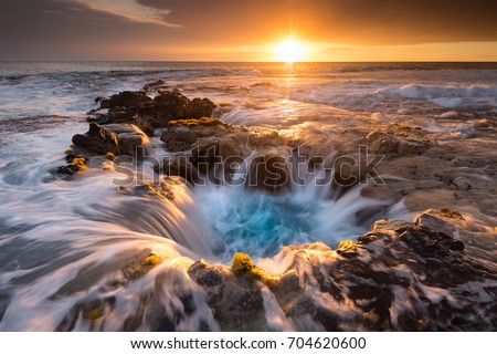Pools of Paradise during Sunset at the Coast of Hawaii (Big Island)