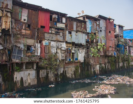 Poor and impoverished slums of Dharavi in the city of Mumbai. Сток-фото ©