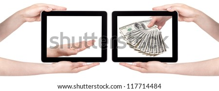 poor and rich concept with money and pc tablet isolated on a white background
