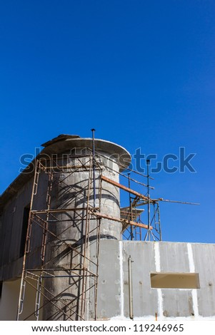 Poor construction structure with blue sky background