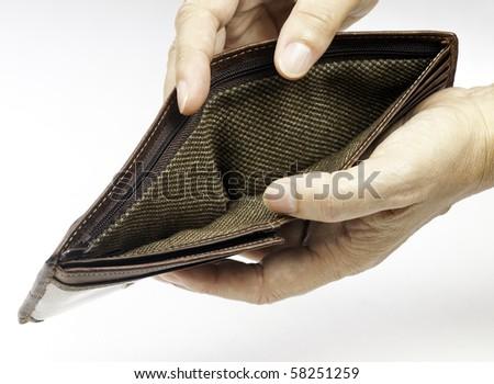 Poor economy represented by empty wallet