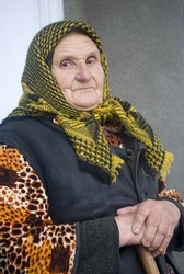 Poor elderly woman of Eastern Europe