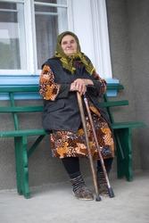 Poor elderly woman of Eastern Europe