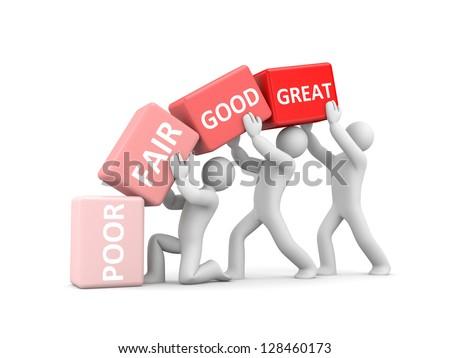 Poor, Fair, Good, Great to symbolize improvement