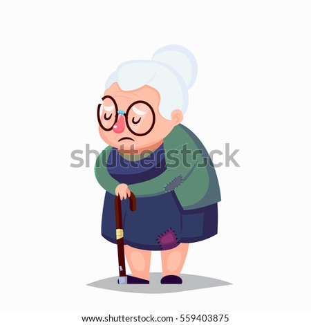 poor old woman in old clothes with cane and glasses