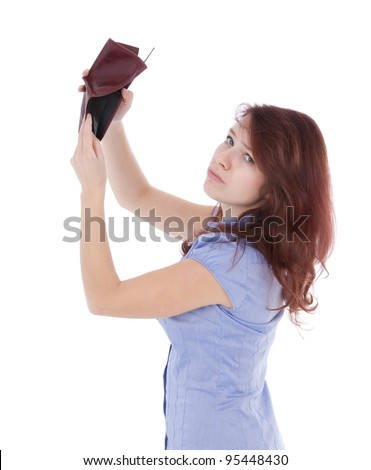 Poor sad girl with empty wallet. Be penniless concept