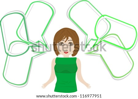 Pop art business woman with speech bubble. business cute girl. raster