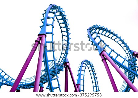 Pop art color roller coaster isolated on white background
