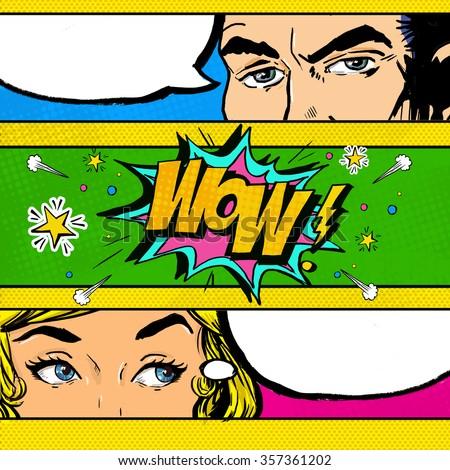 Pop Art comic dialog. Pop Art couple. Pop Art Love. Advertising poster. Comic man and women with speech bubble.Wow face. Surprise. Valentines day. Sensation. Gossip. Secret, mystery, news.Secret agent