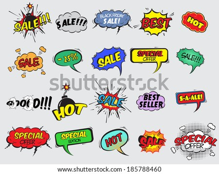 Pop art comic sale discount promotion decorative icons set with bomb explosive isolated  illustration #185788460