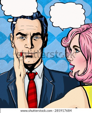pop art couple conversation...