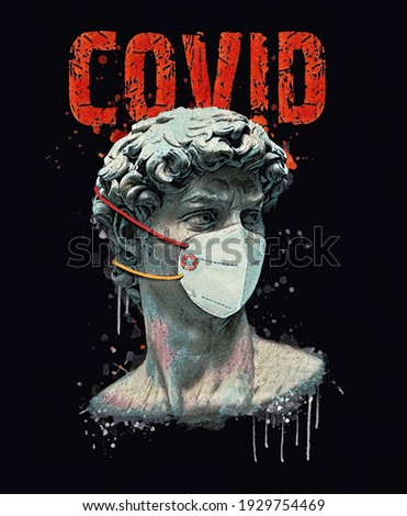 Pop art David statue, illustration isolated on black background. Ancient greek sculpture, statue of hero.Textile artwork for t-shirts.Minimal concept art.
