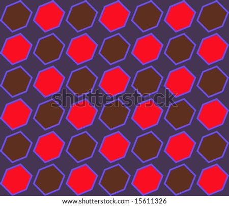 Pop Art Diagonal Hexagons Pattern Red Brown