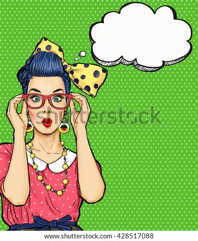 Pop Art girl  in glasses with thought bubble. Party invitation. Birthday card. Hollywood, Comic woman. Sexy girl. Amazed, wow,cute, lips, hippie,face, wonder, temptation, sale, hipster, pop, art, love