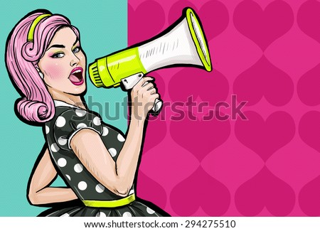 Pop art girl with megaphone. Woman with loudspeaker.Girl announcing discount or sale.Shopping time.Protest, meeting, feminism, woman rights, woman protest, girl power. Pop art background,Special offer