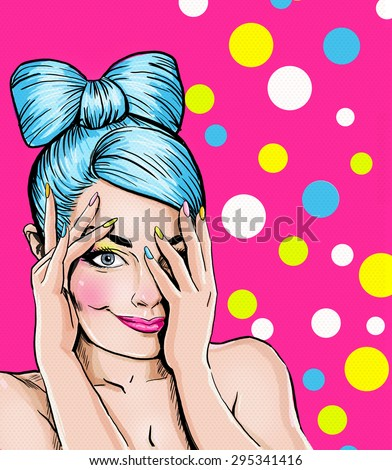 Pop Art illustration of blue head girl on pink background.Pop Art girl. Party invitation. Birthday greeting card. Advertising poster. Comic woman. Romantic girl hiding her face. Cute girl flirting.