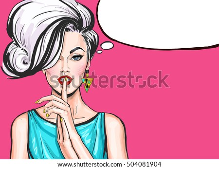 Pop Art illustration of girl with the speech bubble.Pop Art girl. sale, naive, blonde woman, blonde, blond, discount, cool, love, pop, retro, cute, advertising, poster, vintage, shopping, temptation