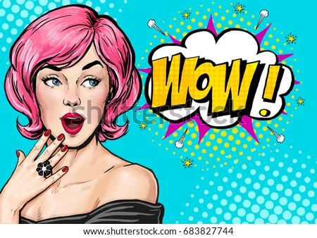 Pop Art illustration, surprised girl.Comic woman. Advertising poster. Birthday greeting card. Advertising poster. Pop art background. Party invitation. naive, pop art woman, pin up girl, wow, omg, yes