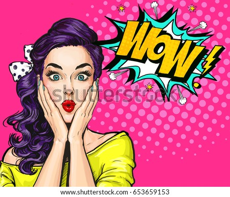 Pop Art illustration, surprised girl.Comic woman. Wow.Advertising poster. Pop Art girl. Party invitation. Birthday greeting card. Advertising poster. Romantic girl, naive, pop art woman, pin up girl