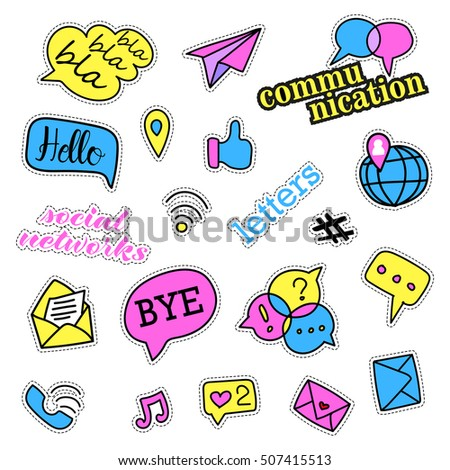Pop art set with fashion patch badges. Social networks set. Stickers, pins, patches, quirky, handwritten notes collection. 80s-90s style. Trend.  illustration isolated.  clip art. Rasterized Copy
