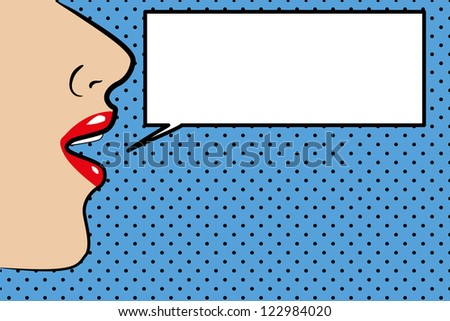 Pop art style womans face with space for text