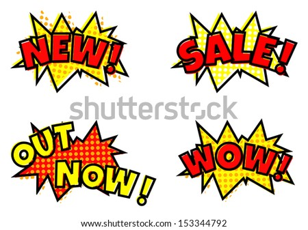 Pop-art styled sale announcement comic balloon bubbles
