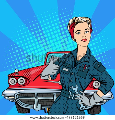 Pop Art Woman Mechanic with Tools Gesturing Great