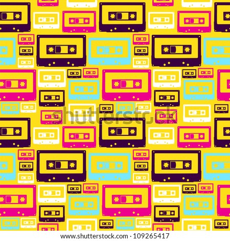 Pop audio cassette seamless pattern.