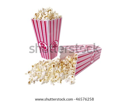 Pop Corn isolated on white background - stock photo