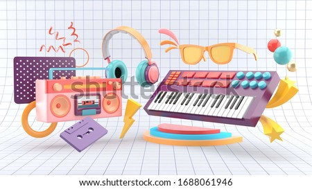 Pop music posters with piano and big boom surrounded by cassette tapes and headphones on a white table background.-3d rendering.