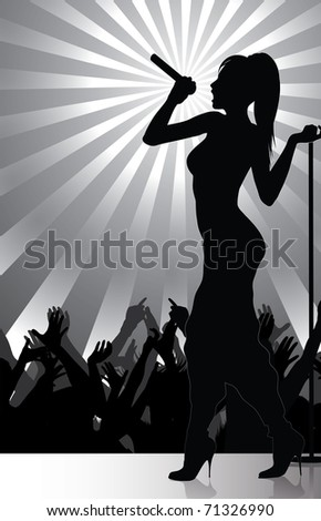 pop singer performing on stage with crowd cheering (available vector version)