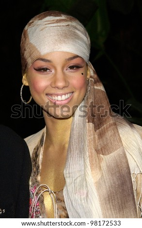 Pop star ALICIA KEYES at pre-Grammy party given by Clive Davis of J Records at the Beverly Hills Hotel. 25FEB2002   Paul Smith / Featureflash