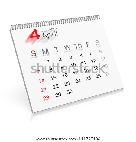 Pop-up Calendar April 2013