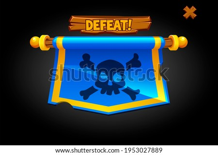 Pop up defeat flag for game. Hanging banner with a skull and the inscription lose. Similar JPG copy Stock photo ©