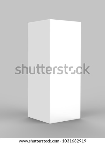 Pop Up  Trade Show Tower tall Display with Stretch Fabric Square Column. 3d render illustration.