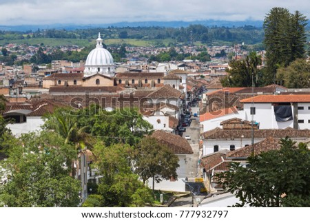 POPAYAN, COLOMBIA - NOVEMBER 19, 2017: Popayan is the center of the department of Cauca. It's called the White City because most of the houses are painted white. Popayan, Colombia. 19 November 2017