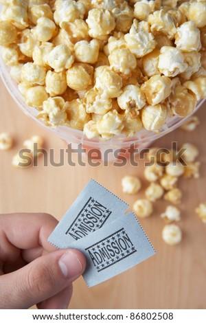 Popcorn and cinema tickets